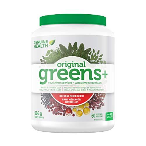 Genuine Health Greens+ Original, Mixed Berry, Superfood Powder, Non GMO, 566g Tub, 60 Servings