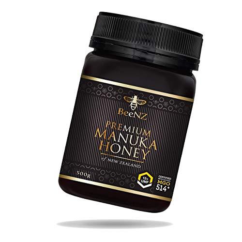 BeeNZ® - Premium Manuka Honig MGO 514+ (UMF15+) 500g aus Neuseeland - 100% reiner Manuka-Honig ohne Zusatzstoffe - Zertifizierter Methylglyoxal Gehalt - Laborgeprüfte Qualität