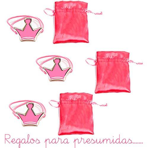 Lote 30 Pulseras Adaptable Corona en Rosa con Bolsa en Raso.Detalles para Primera Comunión, Regalos cumpleaños
