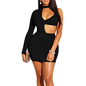 GOBLES Women's Sexy Bodycon Cut Out Long Sleeve Mini Club Cocktail Dress