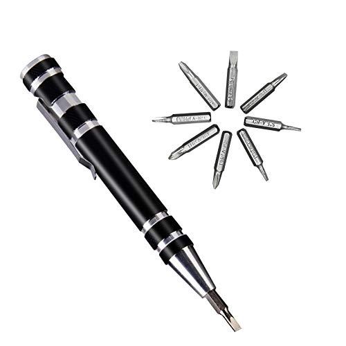 ITME 1 Piezas Juego de Destornilladores de Precisión 8 en 1 Diseño de Bolígrafo Mini Kit de Herramientas, 8 Cabezas de Destornilladores Multifuncionales Para Mejoras en el Hogar (Negro)