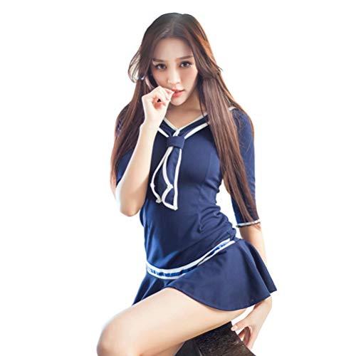V-Ting Sexy Schulmädchen Kostüm Halloween Cosplay Fancy Dress Outfit Mini Sailor Anzug mit Strümpfen (Blau Kleid 2(Keine Strümpfe), One Size)