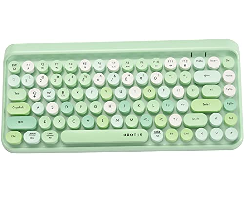 UBOTIE Portable Bluetooth Colorful Computer Keyboards, Wireless Mini Compact Retro Typewriter Flexible 84Keys Design Keyboard (Green-Colorful)