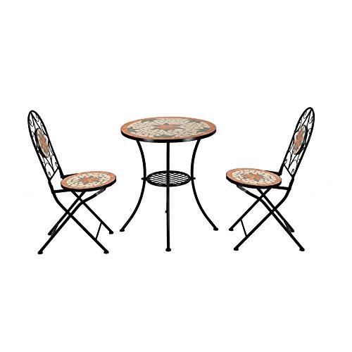 VINGLI 3 Pieces Garden Patio Mosaic Table, Outdoor Bistro Set with Folding Chairs,Black Iron Frame