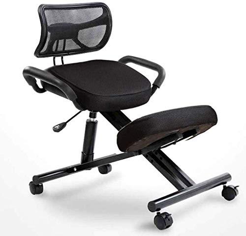 QSHG Hinknien Stühle ergonomisch Bürostuhl Posture Stuhl mit Rücken mit Griff Mit Caster Richtige Sitzhaltung Kleine Hocker Designed (Color : Black)