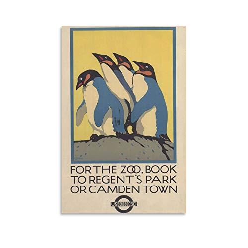 XUYAN - Poster vintage da viaggio con immagine di pinguini, parco, camden, città, zoo di Londra, decorazione da parete, per camera da letto, soggiorno, pareti, 50 x 75 cm