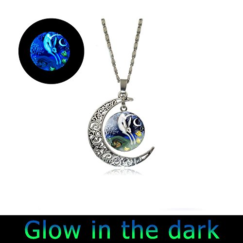 Laco/1925 Glow Full Moon Necklace Bunny Rabbit Glowing Necklace I Love You to The Moon and Back Necklace Keepsake Gifts for Mom Kids Children