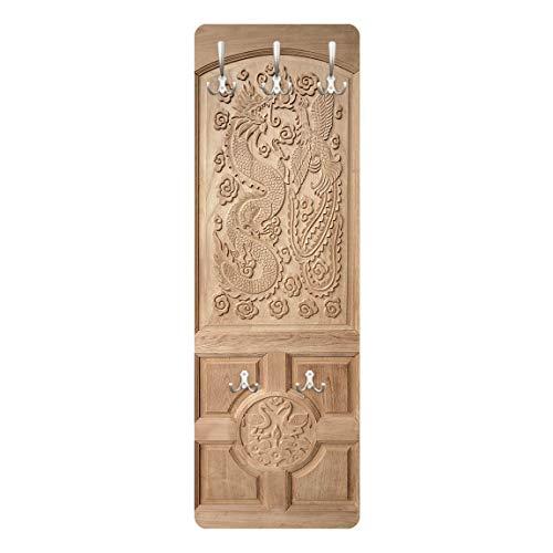 Bilderwelten Appendiabiti a Parete - Intagliato Asiatico Porta di Legno da Thailand 139x46cm