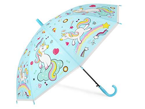 Alsino Einhorn Regenschirm Kinderregenschirm Mädchen Stockschirm Kinder Regenschirme Einhorn-Schirm Unicorn Wetterfest