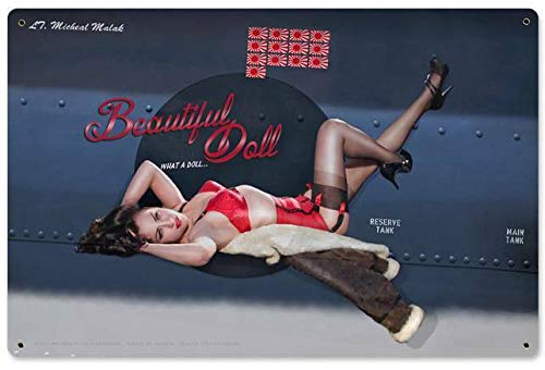 Tin Sign Vintage Chic Art Decoration Poster Pin Up Girl Military Aviation Veteran WWII Airplane for Store Bar Home Cafe Farm Garage or Club 12' X 8'