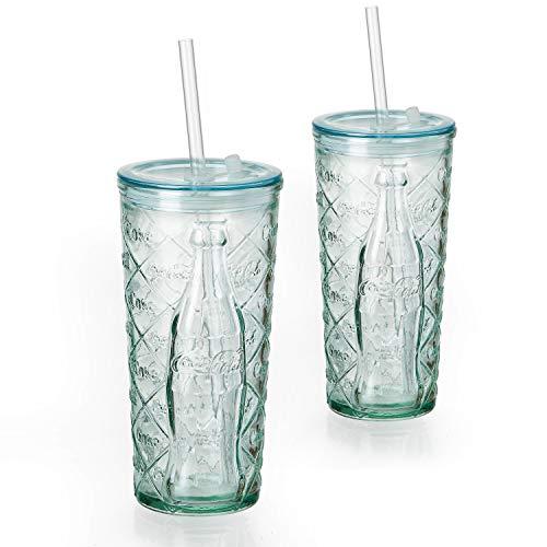 MamboCat 2-delige set Coca Cola beker to go 530ml l reliëf ruit l drinkglas l deksel + rietje