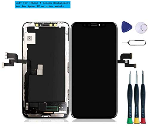 DTLake LCD Ersatz für iPhone X Display, 3D Touchscreen Digitizer mit Komplettem Reparatur-Kit, Reparatur-Flussdiagramm, Karte mit Magnetschrauben, für iPhone X (5.8, schwarz)