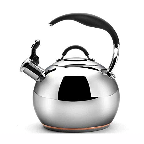 tea kettle Bouilloire de Dessus de Cuisinière en Acier Inoxydable 304, Bouilloire Universelle de Sifflement de Ménage de Cuiseur à Induction de Gaz (Couleur : Silver, Taille : 3.2L)