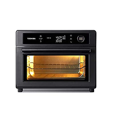 Toshiba Air Fryer Toaster Oven, 13-in-1 Digital Convection Oven for Pizza, Chicken, Cookies, 25L, 1750W, Charcoal Grey, 6 slice (TL2-AC25GZA(GR)) (Renewed)