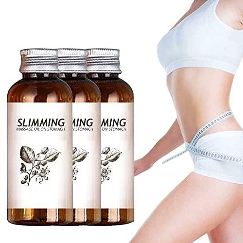 Aceite de masaje adelgazante de hierbas Belly Off, aceite de masaje anti celulitis, aceite de masaje para quemar grasa, aceite esencial para vientre y cintura (3 piezas)