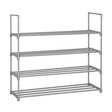"Home-Like 4-Tier Shoe Rack DIY Shoe Tower Metal Storage Rack Shoe Storage Organizer Stackable Shelves for 20 Pairs of Shoes Suit for Entryway Closet 35.6""W x 12"" D x 33.2""H (Grey-4 Tier)"