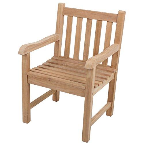Unbekannt VARILANDO Armsessel S1 aus unbehandeltem Teak Gartensessel Holzsessel Armlehnenstuhl