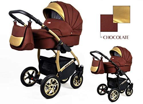 Kinderwagen kinderwagen 3in1 Isofix Golden Glow door ChillyKids Isofix and car seat Chocolade