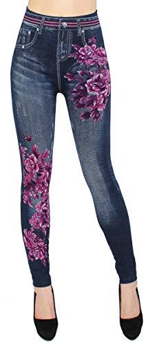dy_mode High Waist Leggings Damen Hose Jeggings in Jeans Optik ideal für Frühjahr Sommer - OneSize Gr.36-42 - JL078 (JL133   Gr.36-42)