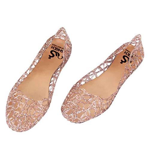 COZOCO Frauen Sommer Strand Gelee Sandalen Slip On Flats Hohl Schuhe Casual atmungsaktive Pumps(rosa,36 EU)