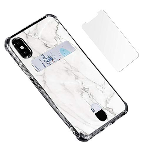 White Gray Marble Case Compatible for iPhone Xs/X with Card Holder Slot Shock Absorption Slim Flexible TPU Clear Cover for iPhone X/10 with Soft Screen Protector (Not Tempered Glass) -  Oddss