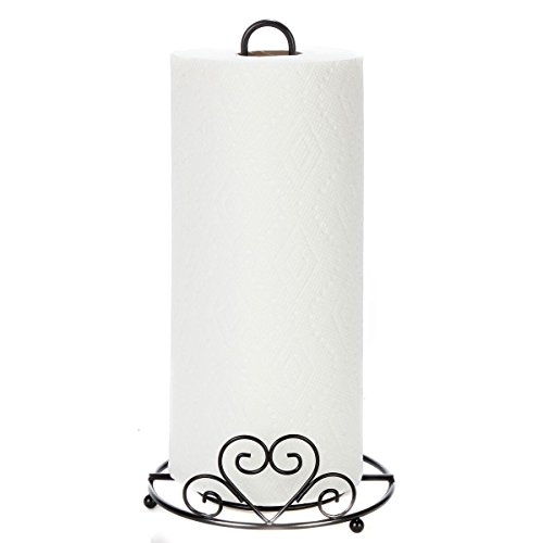 Trenton Gifts Metal Paper Towel Holder With Scrolled Heart Design   12.5' Height x 6.5' Diameter  ...