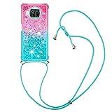 YMCASE Handykette Hülle für Xiaomi Poco X3 NFC, Smartphone Necklace Glitzer Transparent Silikonhülle mit Band - Handyhülle Case mit Stylische Kette zum umhängen, Pink und Blau