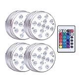 cheap4uk 4 Piezas RGB Cambio de Color LED Luces LED sumergibles Luz Intermitente led Impermeable Acuario de bañeras de hidromasaje Fish Tank