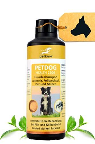 Peticare Hunde-Shampoo gegen Juckreiz Milben Pilz Floh - Spezial-Mittel entfernt Larven, Eier, Sporen, stoppt unangenehmen Fell-Geruch, auch für Welpen, pflanzliche Inhaltsstoffe - petDog Health 2104