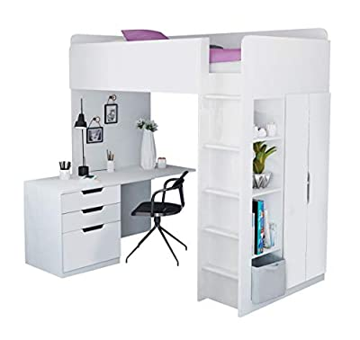 Kids High Sleeper Loft Bed Storage Bundle - Wardrobe Desk Bookcase