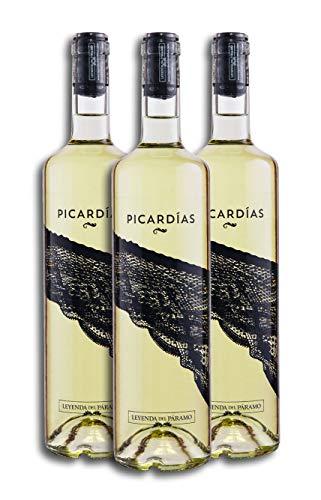 Vino Blanco Dulce - Leyenda del Páramo - Vino Picardias - Caja De 3 botellas De 75 Cl. - Envio en caja protectora de alta resistencia para un transporte 100% seguro