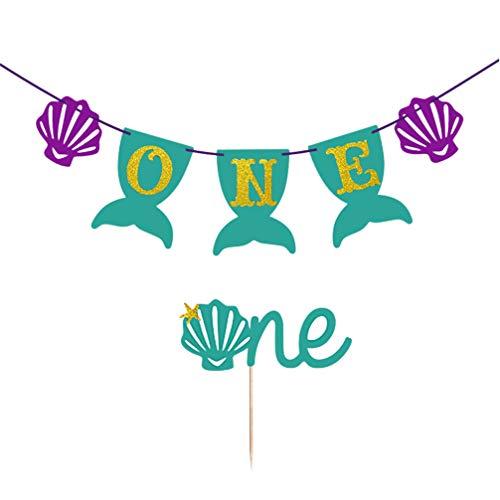 Amosfun 2 stks Zeemeermin Een Banner Taart Topper Set Glitter Hangende Garland Cupcake Pick voor 1e Verjaardag Baby Douche Zeemeermin Thema Party Decor (Groen en Paars)