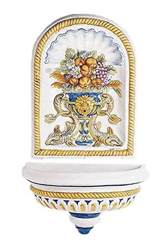 Casa Padrino Fuente de Pared Art Nouveau de Lujo Blanco/Multicolor 62 x 31 x A. 107 cm - Fuente de...