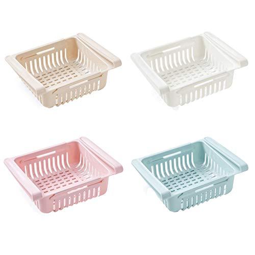 DIPOLA Einstellbare Lagerregal Kühlschrank Partition Layer Organizer, ausziehbare Kühlschrank Schublade Organizer, Kühlschrank Aufbewahrungsbox (4 Stück)