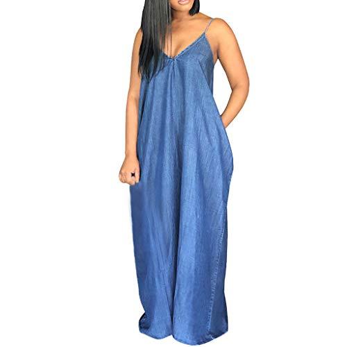 Zexikeji - Vestido largo para mujer, estilo casual, con correa de espagueti, cuello en V, para verano, holgado, sin espalda, para playa