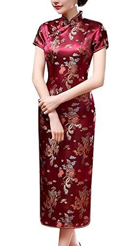 Laogudai Abito da Sera Manica Corta Donna Abito Cinese Abito da Cocktail Vestito Asiatico Cheongsam Elegante Abito Tradizionale 40 Vino Rosso