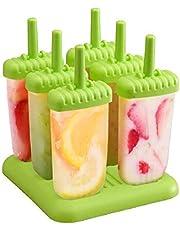 Delmkin 6 stuks ijslollyvormpjes ijsvormpjes 6 stuks ijsvormpjes voor kinderen(groen)