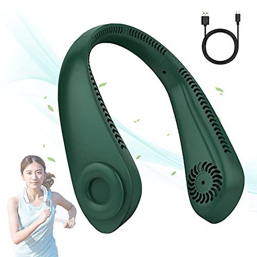 Gettop Ventilador Sin Aspas Manos Libres - Mini Micro Ventilador De Cuello Portátil - USB Recargable + Ajustable 3 Velocidades + Flujo De Aire 720° - para Oficina, Viajes, Camping (5000mAh)