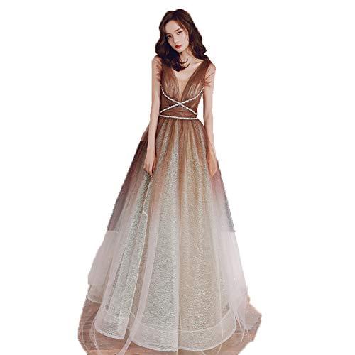BINGQZ zijden jurk dames zomerjurk riemjurk zomer lang Gradient avondjurk
