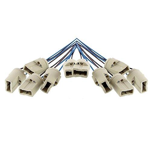 10x Offgridtec® G9 Lampenfassung DVE und UL listed - Mit isol. Kabelzuleitung - Lampensockel Fassung Sockel für LED Halogen CFL