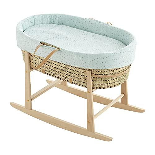 COOL · DREAMS - Moisés para bebé + vestidura de tela certificada OEKO-TEK + colchón perforado + estructura balancín nature (colección My Koala Mint)