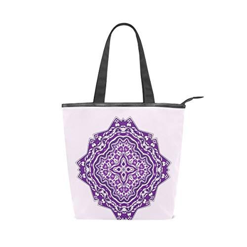 COOSUN Mandala Morado Mandalas Bolsa de lona con cremallera bolso de hombro bolso bolso de mano bolso para la compra, escuela, al aire libre, picnic