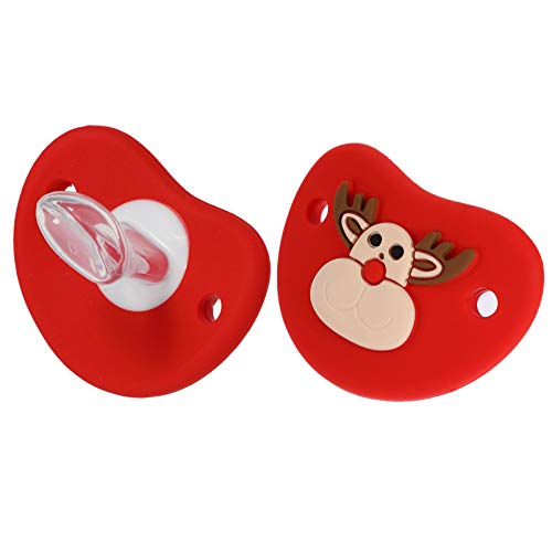 NUOBESTY 2pcs Funny Christmas Baby Pacifiers Reindeer Baby Dummy Pacifier Prank Dummy Teether Nipple for Infant Xmas Holiday Party Favors