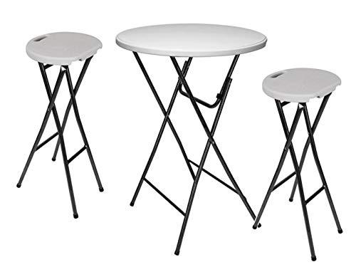 Stabiele outdoor garnituur klaptafel Ø 80 cm + 2 barkrukken inklapbaar wit