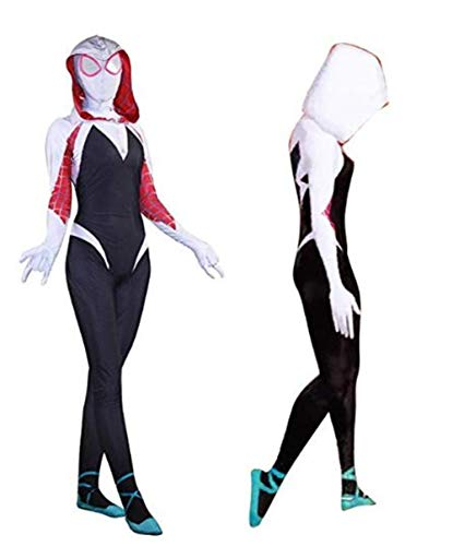 Gwen Stacy Spider Man into The Spider Verse Costume Adult/Kids Halloween Cosplay (Kids-Large(130-140cm), White)