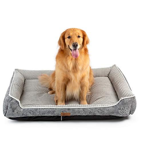 AcornPets B-606 Deluxe color gris cama de perro tamaño extra grande almohada de lana 110 x 90 cm para perros grandes, uso de terciopelo de piel, tela Oxford, desmontable y lavable.