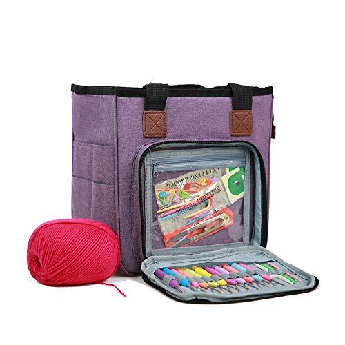 Horsande Knitting Storage Bag, Yarn Tote Bag Organiser, Knitting Wool Travel Bag for Crochet Hook and Needles Accessories, Purple