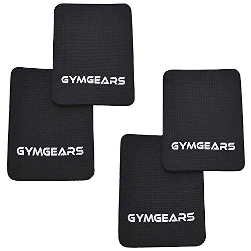 GYMGEARS® Griffpolster [4er Set] Grip Pads 3mm - Profi Neopren Griffpads für Fitness, Bodybuilding & Krafttraining Schwarz - Alternative für Trainingshandschuhe - Für Frauen & Männer