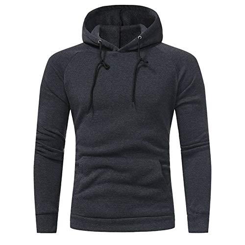 Nuevo hombre otoño e invierno casual moda slim color sólido sudadera con capucha Gris gris oscuro XXL