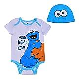 Sesame Street Baby's Short Sleeve Onesie with Cap, Cookie Monster Bodysuit, Romper Set, Size 6M